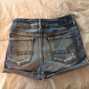 American Eagle Hi Rise Distressed Shortie Shorts